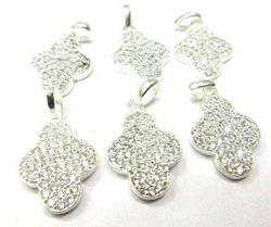 Pave Set Sterling Silver Pendant