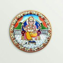 White marble handicrafts products Plate Embossed Golden Ganesha Painted Work., marble ganseh plate