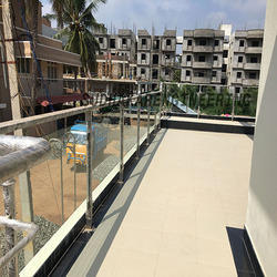 Modern Balcony Elevation Glass Railing
