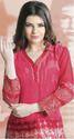 Beautiful Red Satin Georgette Printed Kurtis