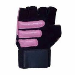 Black And Pink Half Fingered Women Gym Gloves