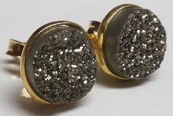 Platinum Druzy Earring Stud