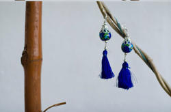 Pottery Silk Thread Earring
