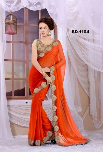 bfd0eae512c7eb Embroidery border cut work lace Orange Fenta Kesari Bollywood Exclusive  Designer Georgette Orange Saree