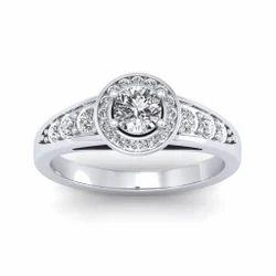 Sarvada Jewels Platinum Round Cut halo Diamond Engagement Rings