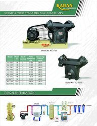 KARAN SINGLE AND DOUBLE STAGE Single Two Stage Vacuum Pumps, Model Number/Name: V 255, 7.5 Hp