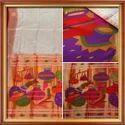 Shirodak Pearl White Pure Silk Hand Woven Paithani Sarees