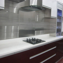 SS Silver Stainless Steel Kitchen Wall Tile, For Residential, Commercial, Thickness: 20-25 mm