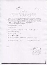 Drug Licence Certification