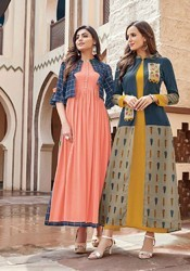 Fully Stitched Rayon With Embroidery Work Kurtis.sizes : M, L, Xl, Xxl, Xxxl