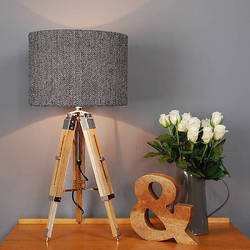Decorative Mini Wooden Tripod Lamp - Shade Home Decorative