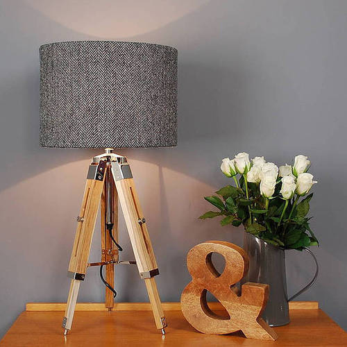 reputable site 60504 92661 Decorative Mini Wooden Tripod Lamp - Shade Home Decorative ...