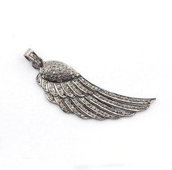 Pave CZ Set Feather Sterling Silver Charm Pendant