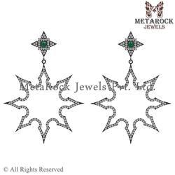 92.5 Sterling Silver Diamond Gemstone Earring