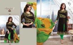 Cotton Long Embroidery Salwar Kameez (Set of 4)