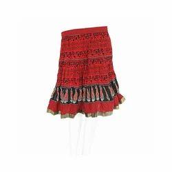 Designer Block Printed Mini Cotton Skirt 313