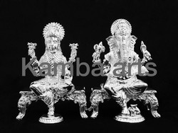 Silver Laxmi Ganesh Idol