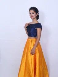 Malabari Silk Chaniya With Flap Blouse