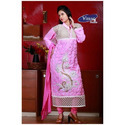 Pink Georgette Embroidery Ladies Suits, Size: Medium