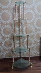 5 Steps Glass Corner Stand