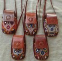 Pure Leather Hand Embroidery Work Mobile Carrier
