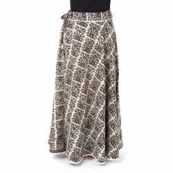 Hand Block Print Charcoal Long Skirt