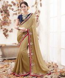 Beige Embroidered Saree