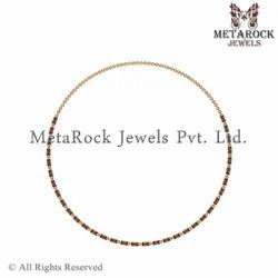 14k Yellow Gold Garnet Gemstone Necklace Jewellery
