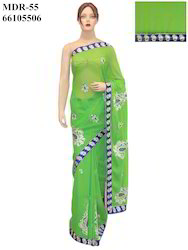 Ethnic Indian Bollywood Georgette Green Sari