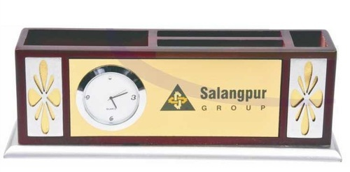 Wood Wooden Pen Stand with Clock