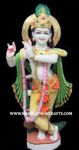 White Painted Krishna Marble Statue For Worship Size 12 To 66