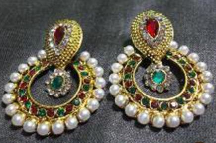 07b6c0d72d9 Maroon And Green Color Polki Earrings at Rs 299
