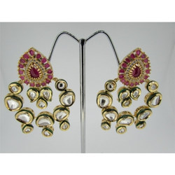 Ultra Shine Avaneesh 925 Sterling Silver Kundan Earrings