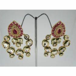 Ultra Shine Avaneesh 925 Sterling Silver Kundan Earrings