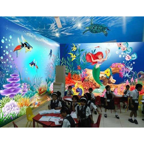School Wall Painting - School Wall Cartoon Painting Services ...