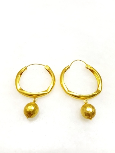 Silver Hoop Design Hammered Ball Earring At Rs 2210 Pair Hoop