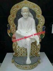 White marble sitting Sai Baba status
