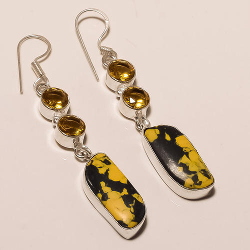 earrings precious stone semi