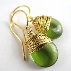 Falak Gems Sterling Silver Green Wire Wrapped Earrings