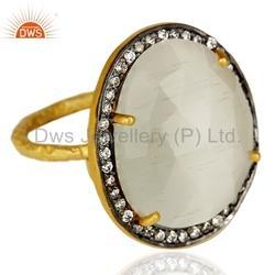 Moonstone CZ Gold Plated Silver Ring Jewelry