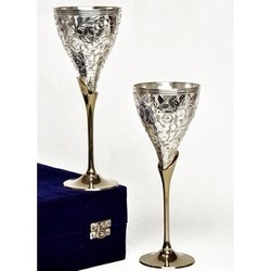 Wine Glass Set Silver Plated Brass Material