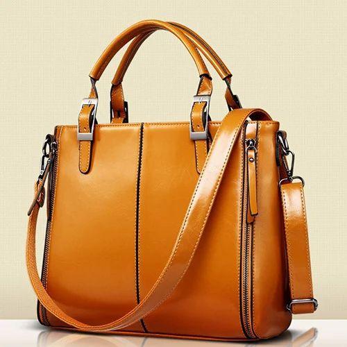 Ladies Leather Office Bags, Ladies Hand Bag - Mallik Mirrors ...