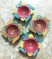 Multicolour Clay Diya