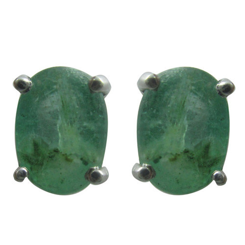 6b6740922 Natural Emerald Sterling Silver Tops Earring at Rs 2920 /pair ...