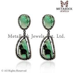 Pave Diamond Emerald Dangle Earrings