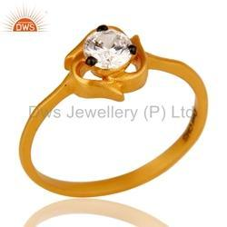 Designer Gold Plated Silver CZ Ring Jewelry
