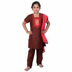 Red-Black Cotton Bagru Design Rajasthani Salwar Suit