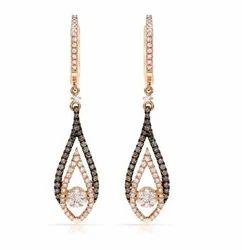 Sheetal Impex Leaf Chandelier Diamonds Earrings, Size: Width - 9 Mm & Length - 41 Mm