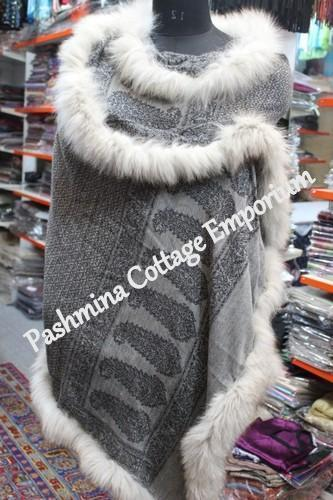 Gaah Exports Casual Wear Fur Allover Silk Pashmina Stole