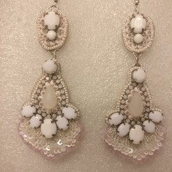 Beaded earrings White bead earrings Embroidered earrings